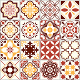 Fototapeta Panels - Portuguese vector tiles, Lisbon art pattern, Mediterranean seamless ornament in brown and yellow