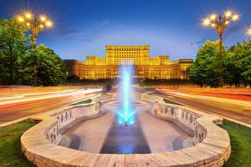 Bucharest Romania City Center Palace of Parliament at Sunset.