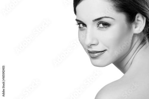 Plakat Czarny i biały portret młoda piękna kobieta