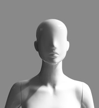 Human Female Mannequin Portrait Photograph With Light And Shadow Effects Isolated On Grey Background