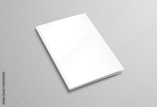Fototapeta Template of white blank brochure on gray background. obraz