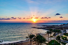 Sunset At Raouche In Beirut, Lebanon.