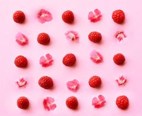 Freshly picked ripe raspberries on pink background.
