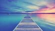 canvas print picture - romantischer Sommerabend am Steg