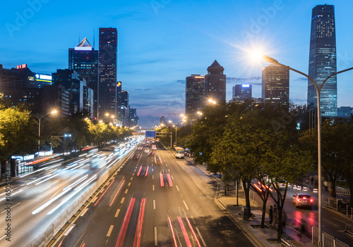 Foto op Aluminium Nacht snelweg urban traffic view at night in modern city of China.