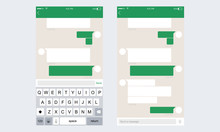 Mobile UI Kit WhatsApp Messenger. Chat App Template Whith Mobile Keyboard. Vector Illustration