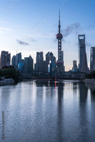 Photo  Shanghai skyline panorama,landmarks of Shanghai with Huangpu river in China