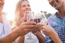 Friends Raising Toast With Wine