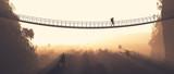 Fototapeta Most - Man rope passing over a bridge