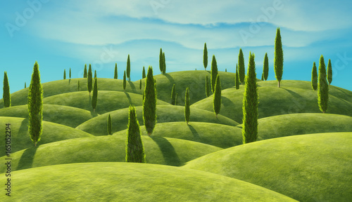Fotografie, Tablou Green cypress trees