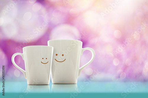 Fotografie, Obraz Happy Lover Coffee Cup with smiley face, Happiness and Romantic Love moment Conc