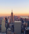 New York skyline at sunset from Top of the Rock, Rockefeller Center in Manhattan