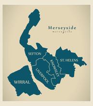 Modern Map - Merseyside Metropolitan County Labelled Districts UK England