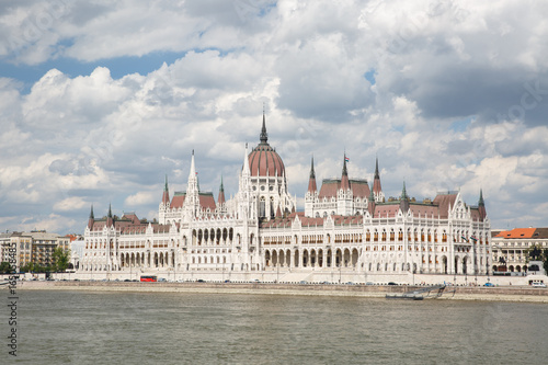 beautiful parliament building, the Danube River and the cloudy sky. Hungary