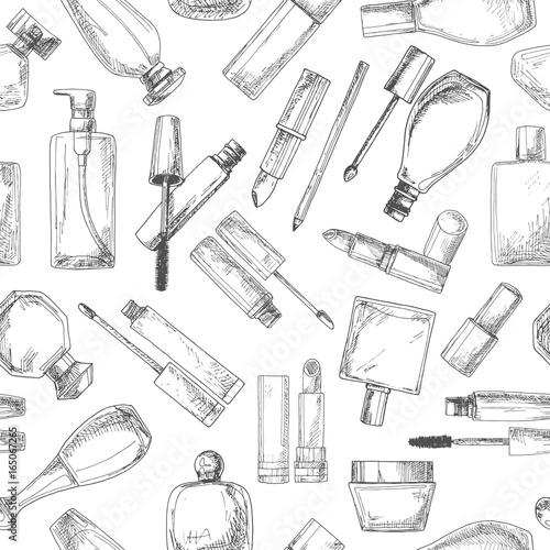 Poster Kranten Seamless pattern with cosmetics. Lipsticks, mascara, cream. Vector illustration of a sketch style.