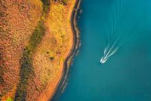 Aerial View Of Speedboat On La...