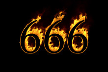 Fire Number 666 Isolated On Black Background, 3d Illustration