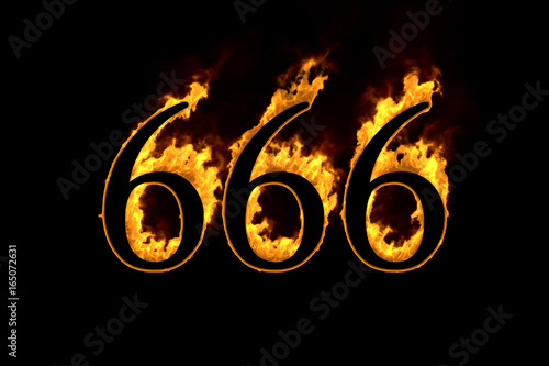 Fotografia, Obraz  Fire number 666 isolated on black background, 3d illustration