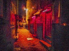 View Of The Red Light District At Night In Amsterdam. Oil Painting. Red Light Street From The Inside. Watercolor Painting. Good For Postcards, Posters, Web Design, Artwork. High Resolution.