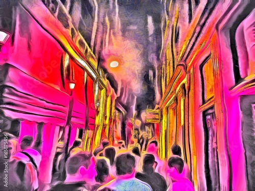 People walking on the red light district at night in Amsterdam. Oil painting. Red light street from inside. Watercolor painting. Good for postcards, posters, web design, artwork. High resolution.