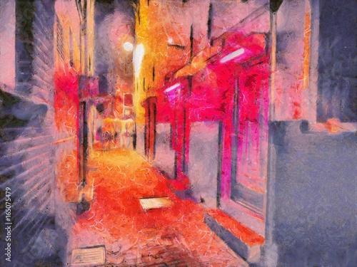 Plakat Widok czerwonego światła okręg przy nocą w Amsterdam. Obraz olejny. Czerwone światło od ulicy. Malarstwo akwarelowe. Dobry na pocztówki, plakaty, projektowanie stron internetowych, dzieła sztuki. Wysoka rozdzielczość.