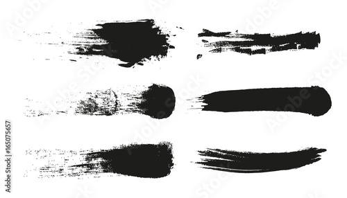 Fototapeta Grunge Paint stripe . Vector brush Stroke . Distressed banner . Black isolated paintbrush collection . Modern Textured shape . Dry border in Black . obraz na płótnie