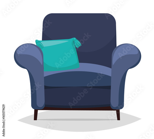 Blue armchair and pillow Wallpaper Mural