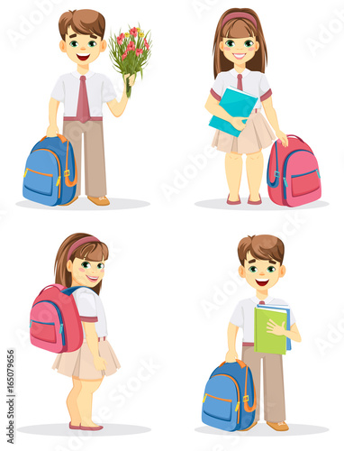 Schoolboy and schoolgirl with backpack. Coming back to school. Cute smiling  boy and girl. Cartoon characters. Set of four vector illustrations. 44ecfa566ede2