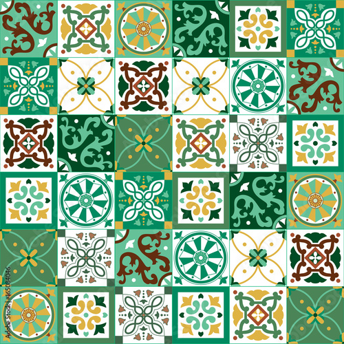 Foto auf AluDibond Marokkanische Fliesen Portuguese traditional ornate azulejo, different types of tiles 6x6, seamless vector pattern in yellow, green and white colors