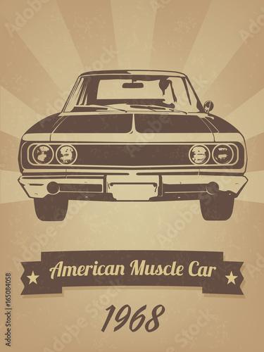 Tela  Vintage American Muscle Car Retro Poster