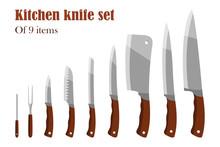 Knifes Set Or Kitchen Knives. Cutlery Set. Vector Illustration.
