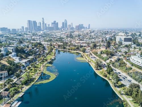 Staande foto Los Angeles Los Angeles - Drone View on Echo Park
