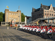 Antwerp City  Bikes In Front Of The Entry Building To The Sint-Anna Pedestrian Tunnel.