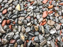 Wet Pebbles On Beach Ocean, Maine, USA