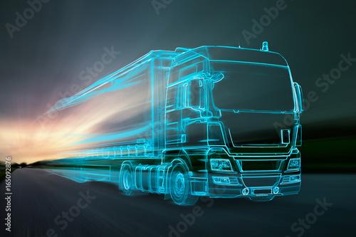 Fotomural  Truck aus Lichtern auf Landstraße
