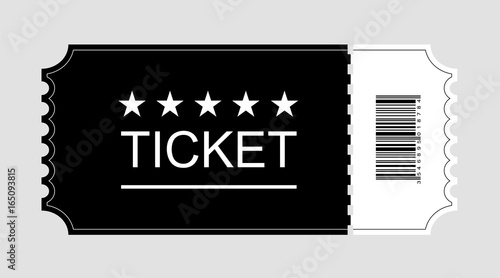 Ticket icon, Cinema ticket flat on gray background, Vector illustration Wallpaper Mural