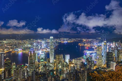 Foto op Canvas Seoel Hong Kong skyline. View from Victoria Peak.