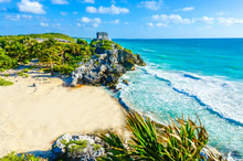 Mayan Ruins Of Tulum At Tropical Coast. God Of Winds Temple At Paradise Beach. Mayan Ruins Of Tulum, Quintana Roo, Mexico.