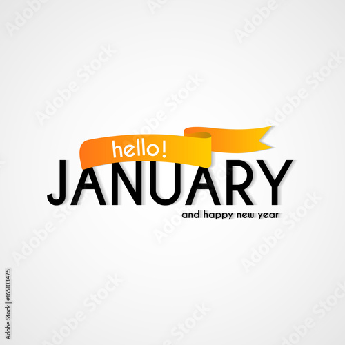 Creative typography greetings of new month hello january lettering creative typography greetings of new month hello january lettering vector illustration with ribbon m4hsunfo