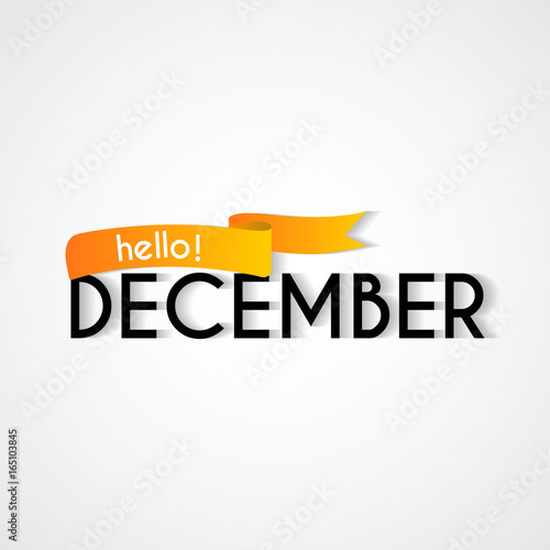 Creative typography greetings of new month hello december lettering creative typography greetings of new month hello december lettering vector illustration with ribbon m4hsunfo