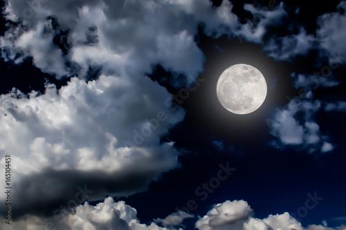 Fototapety, obrazy: moon night sky dark full clouds background