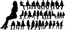 Vector, Isolated, Silhouette Of A Man Women And Children Sitting, Set
