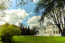 View On Ostafyevo Palace In Moscow Region And Public Park. Antique Mansion 18-19 Century In Classicism Style. Beautiful Landscape With Old Manor, Lawn, Sky And Trees For Calendars, Posters, Prints.