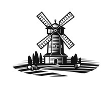 Mill, Windmill Label Or Logo. Farm, Agriculture, Bakery, Bread Icon. Vintage Vector Illustration
