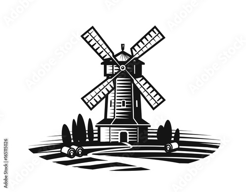 Obraz Mill, windmill label or logo. Farm, agriculture, bakery, bread icon. Vintage vector illustration - fototapety do salonu