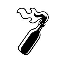 Burning Molotov Cocktail