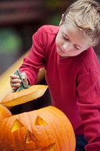 Pumpkins: Young Boy Peeking In...