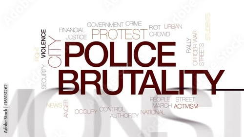 Fényképezés  Police brutality animated word cloud, text design animation