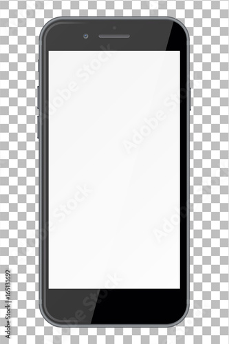 Smart phone with blank screen isolated on transparent background. Fototapeta