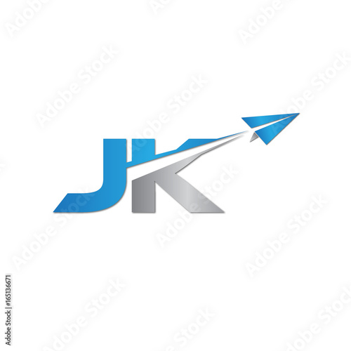 Initial Letter JK Logo Origami Paper Plane